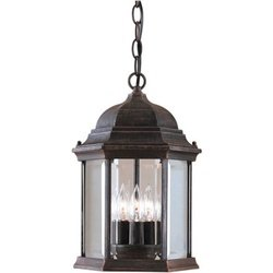 03 Forte Ceiling Lighting - Forte 1711-03-28 3 Light Cast Aluminum Outdoor Hanging, Painted Rust