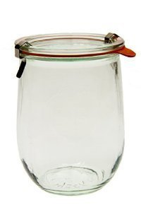 Weck 745 Tulip Jar - 1 Liter, Set of 6 Clear