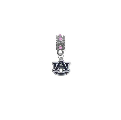 Auburn Tigers Pink Rhinestone/Gem Charm with Connector - Universal European Slide On Charm - Classic & Original Style Perfect for Bracelets, Necklaces, DIY Jewelry ()