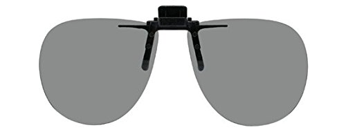 Polarized Clip-on Flip-up Plastic Sunglasses - Aviator - 58mm Wide X 52mm High (134mm Wide) - Polarized Grey - 100 Uv Protection Vs Polarized