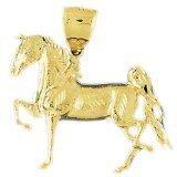 CleverEve 14K Yellow Gold Running Horse Pendant 8.8 Grams