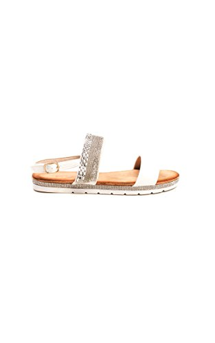 Ikrush Womens Derya Double Strapped Embellished Sandals White cMIyCgZA