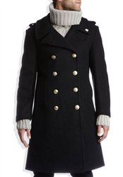 - Fidelity Denim Naval Officer Bridge Coat 34 Black