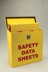 Accuform ZRS367 RIGHT-TO-KNOW CENTER, 0.035'' Thick Steel Cabinet with (1) 2-1/2'' Safety Data Sheets 3-Ring Binder Included, 13.5'' x 13.5'' x 4.5'', Red on Yellow by Accuform