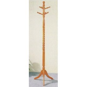 (MAN CAVE Twist Style Oak Finish Wood Coat & Hat Rack Stand)