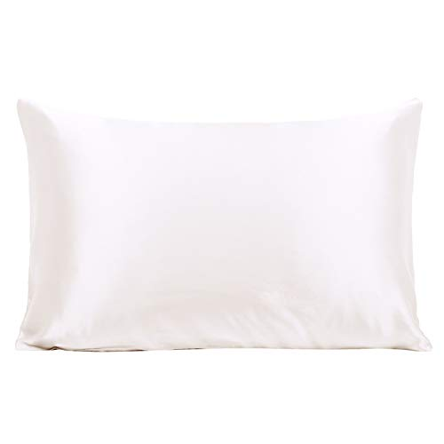 (Ravmix Mulberry Silk Pillowcase 21 Momme 600 Thread Count Hypoallergenic Standard Size 100% Silk Pillow Case Cover for Hair and Skin with Hidden Zipper, 20×26inches, Ivory White)