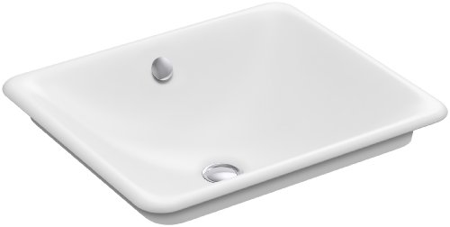 (KOHLER K-5400-W-0 Iron Plains Undermount Rectangular Bathroom Sink, 18.56