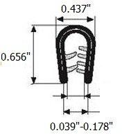 "Edge Trim Blacklarge U height 0.656"" U Height x 0.039""-0.178"" grip range (3 Feet)"