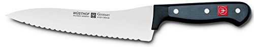 WÜSTHOF Gourmet 8 Inch Offset Deli Knife | German Made Scalloped Edge 8
