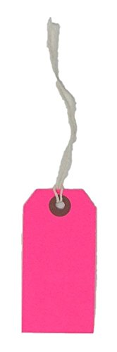 USA-Made Gift Tags Pre-Strung in Variety of Colors and Sizes (#3 = 3.75 x 1.875 inches, PRE-Strung NEON Pink)