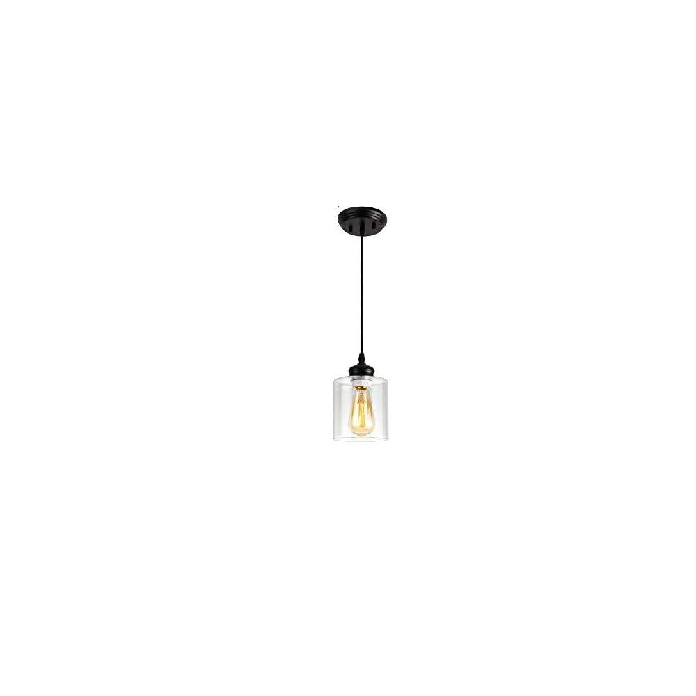 Black Industrial Mini Pendant Light,Farmhouse Vintage Hanging Light Fixture with Clear Glass Lamp for Kistchen Island…