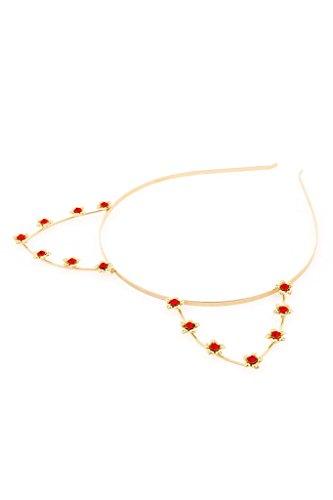 Red Rhinestone Flower Cat Ear Steel Headband - Gold