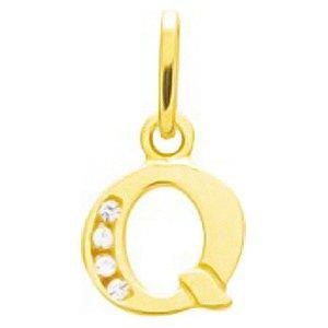 So Chic Bijoux © Pendentif Lettre Q Initiale Alphabet Oxyde de Zirconium Blanc Or Jaune 750/000 (18 carats)