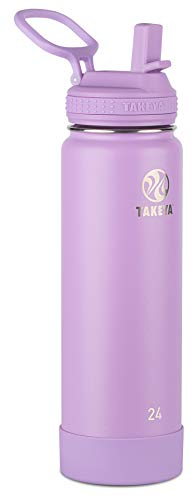 Takeya Actives Insulated Stainless Steel Water Bottle with Straw Lid, 24 oz, Lilac