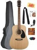 Fender FA-115 Acoustic Guitar Bundle with Gig Bag, Tuner, Strings, Strap, Picks, and Austin Bazaar Instructional -