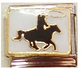 Clearly Charming Cowboy on Horse Italian Charm Bracelet Link (Horse Pugster)