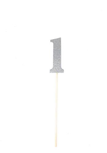 - 1st Birthday Silver Number 1 Centerpiece Sticks 8 Pack (1, Silver)