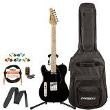 Sawtooth ST-ET50-LH-BKB-KIT-1 Classic ET 50 Ash Body Left-Handed Electric Guitar - Black with Gig Bag, Cable, Picks, Strap, Tuner and Stand
