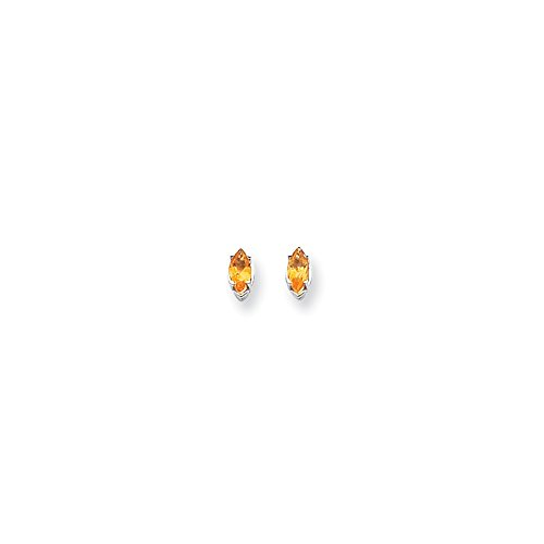 Best Designer Jewelry 14k White Gold 7x3.5mm Marquise Citrine earring