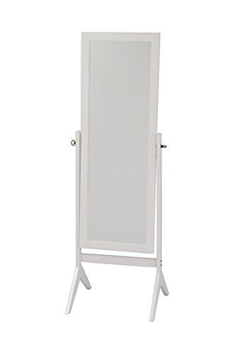 Hongville Hardwood Cheval Floor Full Length Rectangular Dressing Mirror, White - Hardwood Frames Rectangular Mirror