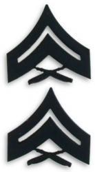 Marine Corps Corporal Black Collar Device Rank Insignia Pair