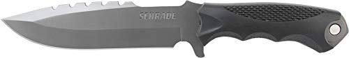 Schrade SCHF27 11.5in Stainless Steel Full Tang Fixed Blade Knife and Tool with 6.6in Drop Point Blade and TPE Handle for Outdoor Survival, Camping and Bushcraft