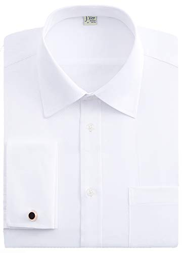 J.VER Mens French Cuff Dress Shirts Regular Fit Long Sleeve Spead Collar Metal Cufflink White - Color:White, Size: 16.5 Neck / 32-33 Sleeve