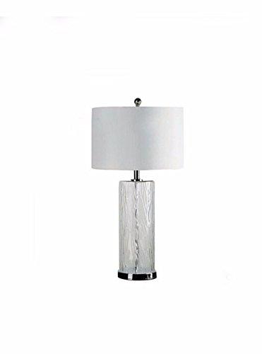 CJSHVR-Table Lamp Post modern transparent crystal wave, bark pattern, straight glass, large desk lamp, home, hotel designer, desk (Pattern Crystal Table Lamp)