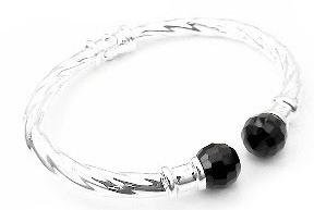 (Twisted Cable Hinged Sterling Silver Bangle Cuff Bracelet with Black Onyx Bead)