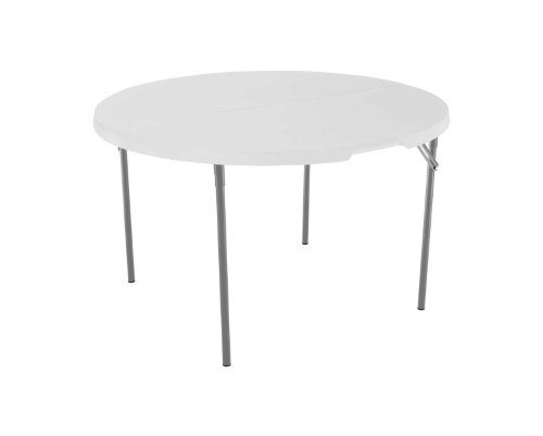 Lifetime 280064 Light Commercial Fold-In-Half Round Table, 4 Feet, White Granite
