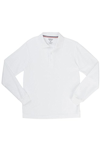 [French Toast Big Boys' Long-Sleeve Pique Polo Shirt, White, X-Large/14-16] (French Toast Long Sleeve Polo Shirt)