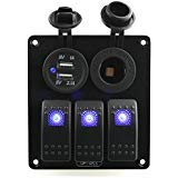 Ambuker 3 Gang Blue Rocker Switch Panel with Power socket & 3.1A Dual USB with Decal Sticker Labels DC12V-24V for Car Marine Boat Trailer Rv Vehicles Truck by Ambuker