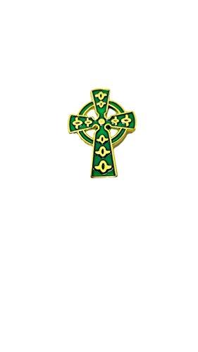 Celtic Cross Irish Lapel Pin - Cross Green Enamel