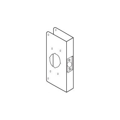 Don-Jo 4550-CW 22 Gauge Stainless Steel Mortise Lock Wrap-Around Plate, Polished Brass Finish, 6-1/2