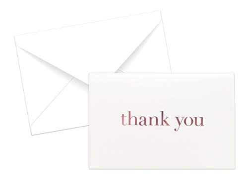 20 Pack Thank You Note Cards Set Box - Rose Gold Foil with Non-resealable White Envelopes + Bonus ()
