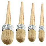 4 PCS Chalk Paint Wax Brush Set - Natural Bristle Round Wax Brush for Painting or Waxing Furniture Home Décor by Abimars