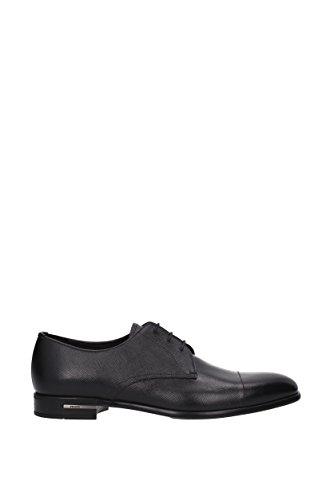 Prada scarpe stringate classiche uomo in pelle nuove saffiano derby nero Nero
