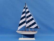Wooden Blue Striped Pacific Sailer Model Sailboat Decoration 25'' by BFCAT