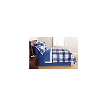 Amazoncom Mainstay Blue Plaid Bed In A Bag Complete Bedding Set