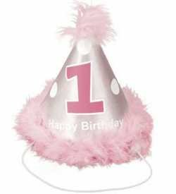 Baby Girls 1st Birthday Cone Hat - Girl's Cone Hat In Pink And Silver
