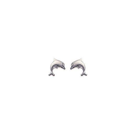 MARY JANE - Boucles d'oreilles Argent Femme/Fille - Larg:8mm / Haut:10mm - Argent 925/000 (Dauphin)