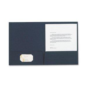 Esselte 50543 Linen Twin Pocket Portfolios, Letter, 5/PK, Navy