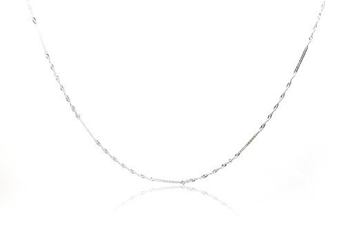 Chelsea Jewelry Basic Collections Italian Designed 1.9mm Wide 18K White Gold Double Twisted Flat Curb link Chain Necklace. (18 Inches)