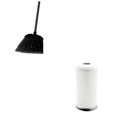 KITRCP637400BLARCPR32EGLW - Value Kit - Rubbermaid Fire-Resistant Open Top Receptacle (RCPR32EGLW) and Rubbermaid-Black Brute Angled Lobby Broom (RCP637400BLA) by Rubbermaid
