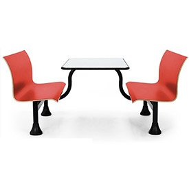 OFM 1006M-RED Retro Bench with Stainless Steel Table Top and Middle Frame