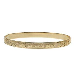 Heirloom Gold Bracelets (Hawaiian Heirloom 14K Yellow Gold Custom Ku'uipo 6mm Raised Bracelet (7.25 Inches))