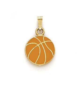 Émail 14 Carats Pendentif Basketball JewelryWeb