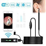 WiFi Ear Otoscope,Wireless Digital Ear Cleaning Endoscope,1.3 Megapixels 720P HD Ear Scope Camera with 6 LED Earwax Removal Ear Scope for iOS and Android Dvices, Windows,PC