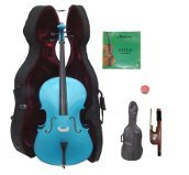 GRACE 4/4 Size Blue Cello with Hard Case + Soft Carrying Bag + Bow + Rosin + Extra Set of Strings
