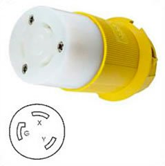 HUBBELL HBL26CM23 AC Connector NEMA L6-30 Female Yellow